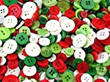 250 x Christmas Small Mixed Buttons, 75g