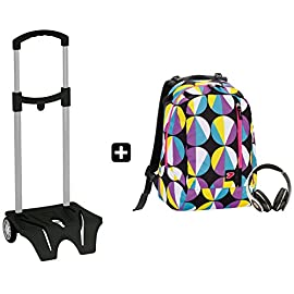 8f1243cd26 Zaino SEVEN – THE DOUBLE FUNNY Viola + EASY TROLLEY – cuffie stereo con  grafica abbinata incluse! 2 zaini in 1 REVERSIBILE
