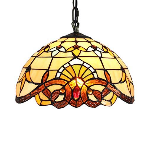 Light-GYH Tiffany-Art-Leuchter, Deckenpendelleuchte, europäische Retro- Buntglas-Wohnzimmer-Esszimmer-barocke hängende Lampe, E27 MAX 40W * 1