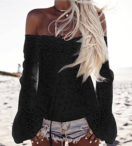 Minetom Damen Sommer Sexy Schulterfrei Trompete Ärmel Spitze Spleißen Quaste Shirts Beiläufige Trägerlos Oberteile Bluse Tops Schwarz