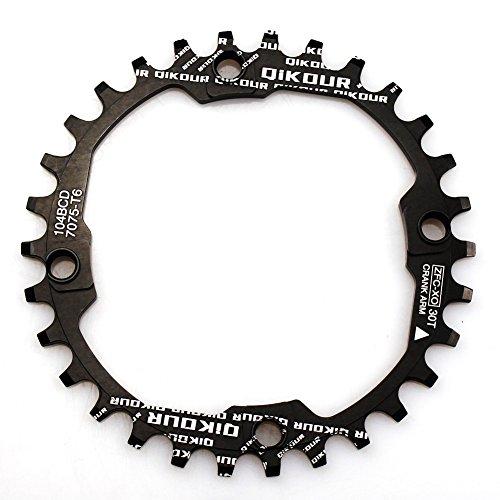 30T Kettenblatt 104BCD fomtor 30T schmal breit Kettenblatt mit 4Schrauben für Road Bike, Mountainbike, BMX MTB Fixie Fahrrad (schwarz)