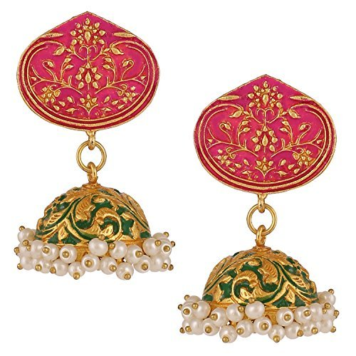 swasti Jewels Ohrringe vergoldet Shalinindia Jhunka indischen für Mädchen und Frauen (Bemalt, Hand Von Gold Finish)