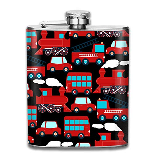 Miedhki Cute Red Transport Pattern Premium 304 Stainless Steel Hip Flask Groomsman Flask Great Gift, 7 Oz