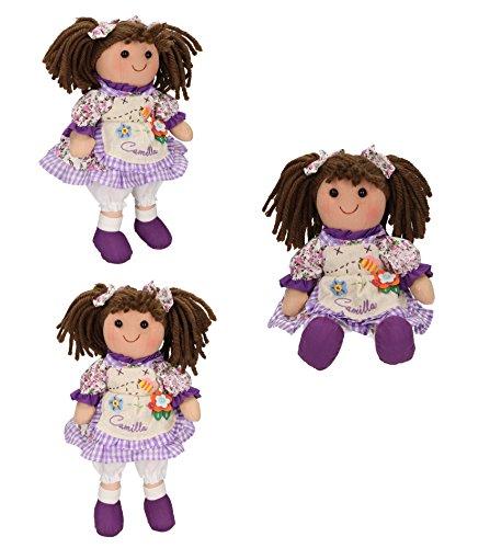 Betz 3 tlg. Kinder Stoffpuppen Set CAMILLA Größe ca.30 cm Farbe lila (Camilla Stoff Set)