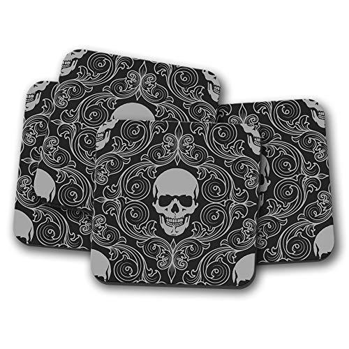 4er-Set – Gruselige Totenkopf-Untersetzer – Halloween-Muster, Tattoo, Jungen-Geschenk #12804