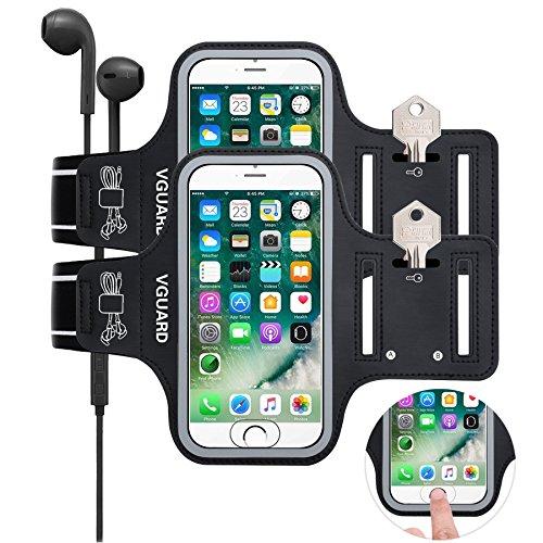 VGUARD [2 Pack] Fascia da Braccio Sportiva iPhone 5S 6 7 8 [ID Toccare Compatibile], Resistente all'Acqua Sweatproof Bracciale Universale 5.1'' iPhone, Samsung Galaxy, Huawei, ASUS, LG (Nero+Nero)
