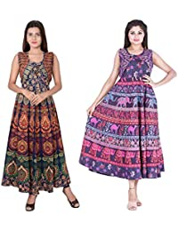 672399f3e7 Dhruvi Combo Women`s Long Cotton Jaipuri Maxi Dress Set of 2 Maxi Western  Dress