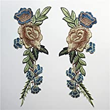 2pcs Rosa Flores bordado Applique insignia coser en parches decorativos de flores cuello encaje venise flores collar adornos sombrero bolsa ropa Busto vestido jeans transferencia boda bordado costura Craft