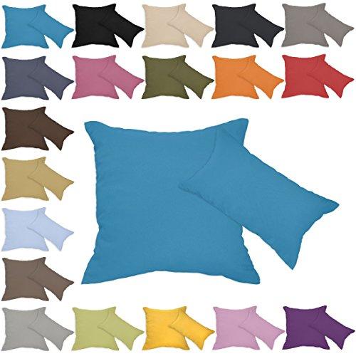 Qool24 Leinen-Optik Kissenbezug mit Reißverschluss Kissenhülle Kissenbezüge 23 Farben und 19 Größen Blau 80x80 cm