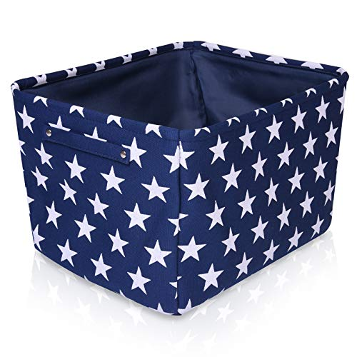 Aufbewahrungskorb aus blauem Segeltuch - Hochwertiger rechteckiger Stoffkorb mit weißen Sternen - Perfekt für die Aufbewahrung von Haushaltsutensilien, Stoffen oder Spielzeug Größe: 40 x 30 x 25 cm