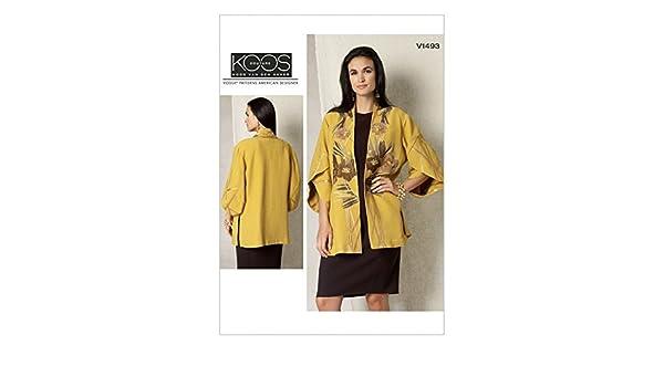 Vogue Damen Schnittmuster 1493 Tulip, Sleeve Kimono Jacke + Gratis ...