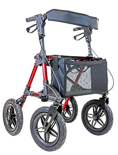 Outdoor Rollator mit Luftbereifung, faltbarer Leichtgewichtsrollator mit hablicare® Sicherheitsreflektoren
