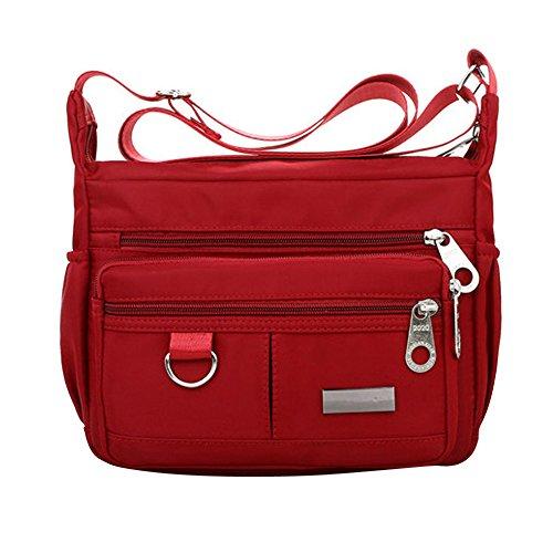 Beikoard Borsa a Tracolla in Nylon Impermeabile con Tracolla in Nylon a Colori Solido Moda Donna(Rosso)