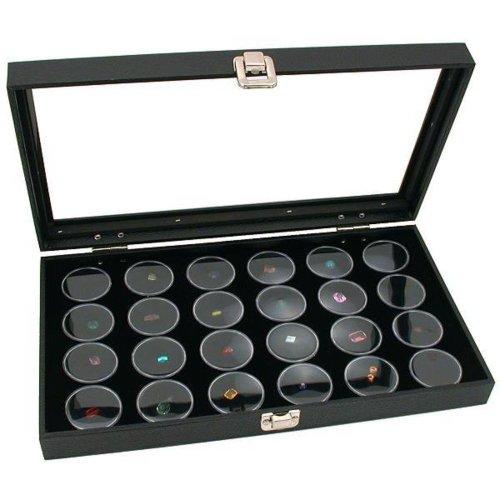 Findingking Boîte de présentation pour bijoux, couvercle en verre, 24 verres à oeil pour pierres précieuses ou perles Blanc