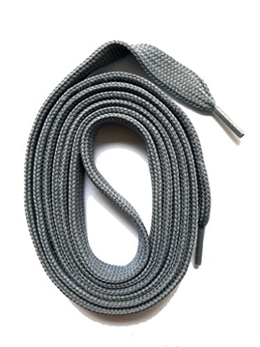 SNORS flache Schnürsenkel GRAU 180cm lang, 7-8mm, reißfest, Polyester, Made in Germany für Chucks, Stiefel, Stiefeletten - ÖkoTex -