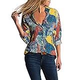 Kaister T-Shirt à Manches Longues boutonné boutonné Femme Col en V Imprimé Floral Blouses Casual Hauts