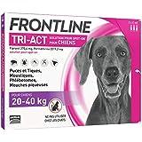 FRONTLINE TRI-ACT Chien - Anti-puces et anti-tiques pour chien - 20-40kg - 3 pipettes