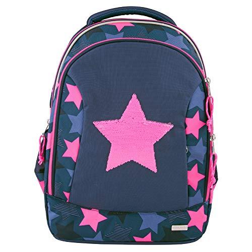 Depesche Mochila Escolar 10415 TopModel con Estrella de Lentejuelas de Pintura, Aprox. 23 x 34 x 44 cm, Multicolor