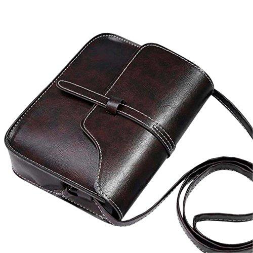 ZARU★Bolso del monedero del vintage bolso del hombro del cuero del faux Bolso cuerpo cruzado★ (Café)