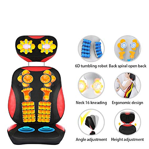 Massagesitzauflage Shiatsu Rückenmassagegerät mit Hitze, Massagematte mit Tief rotierenden Kneten Vibration für Oberen Unteren oder Gesamten Rücken Schmerzlinderung - zu Hause, im Büro oder Auto