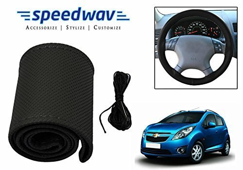 Speedwav Leatherette Car Steering Wheel Cover Black M-Chevrolet Beat