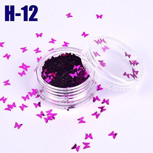 Flash Magie Verfärbung Nagel Dekoration Schmetterling Pailletten (L) ()