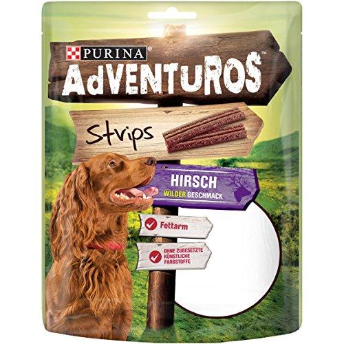 fettarmes hundefutter Adventuros Strips mit Hirschgeschmack, 90 g