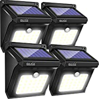 BAXiA Solar Lights Outdoor, Solar Powered Security Lights,Waterproof Wireless Solar Security Lights Motion Sensor for Outdoor Gate,Yard,Steps,Patio,Fence,Driveway, Garden (28LEDs,4 Packs)