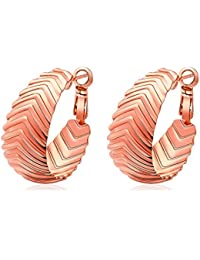 bigsoho Gold/Silver/Rose Gold Plated Copper Nice Earrings Curve Design Fashion Womens Earrings