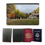 PU Pass Passetui Halter Hülle Schutz // M00154992 Bäume im Herbst Jahreszeit Blätter // Universal passport leather cover