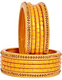 Dulari Stone Embellished Lac Round Ethnic Bangles For Women (Set Of 10 Bangles)Color Available
