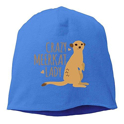 Crazy Meerkat Lady Unisex Knit Hat Soft Stretch Beanies Skull Cap Hedging Cap Black Funny Unisex Hip hop Crazy Horse Gap