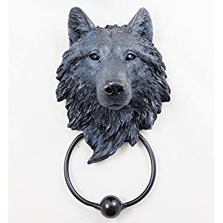 Wolf Door Knocker Black Wolf Head Hand Painted Ornament | 3877