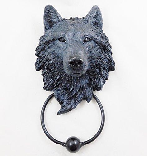 Wolf - Aldaba para puerta, diseño de cabeza de lobo pintado a mano, color negro