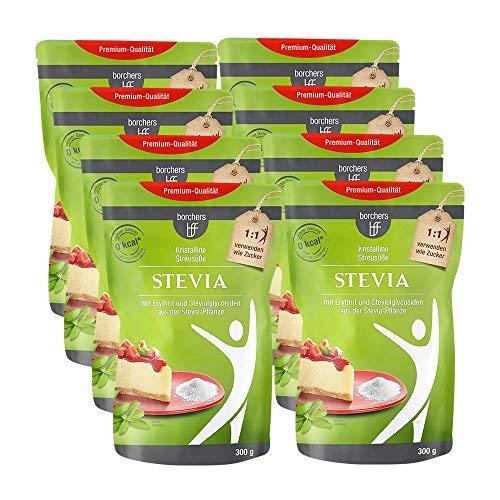 8 x borchers bff Stevia Kristall, mit Erythrit, Kalorienfrei, Zuckeralternative, Süßungsmittel 300g - Stevia Blatt Pulver
