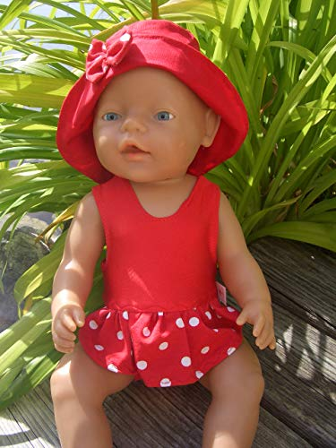 Puppenkleidung handmade Badeanzug + Hut für Baby Born Puppe Gr. 43 cm Badeset Sommerset Badeset Puppenbadeanzug