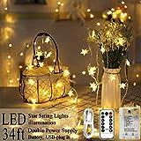 AmaHome Illuminazione Stella 80 LED Stella Luci Di Natale 10M Scintillio Luci Fatate Batteria o USB Decorazione Stella Impermeabile per Camera Da Interna Esterni Telecomando 8 Modalità