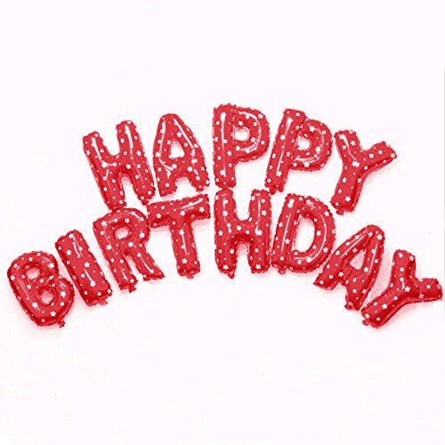 ef alles Gute zum Geburtstag BALLOON Aluminiumfolienballon Baby-Geburtstags-Party-Dekoration Alphabet Helium-Luftballons (Red Letter-ballons)