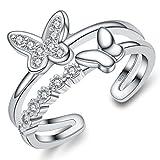 Unendlich U Zweistöckige Ring Schmetterling 925 Sterling Silber Einstellbare Eternity Channel Set Zirkonia Kleiner Finger Ringe für Mädchen Damen, Ringgröße 48 mit Gabe Beutel