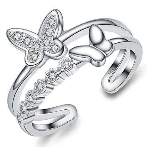 Unendlich U Zweistöckige Ring Schmetterling 925 Sterling Silber Einstellbare Eternity Channel Set Zirkonia Kleiner Finger Ringe für Mädchen Damen, Ringgröße 46 mit Gabe Beutel (Süße Finger-ringe Für Frauen)