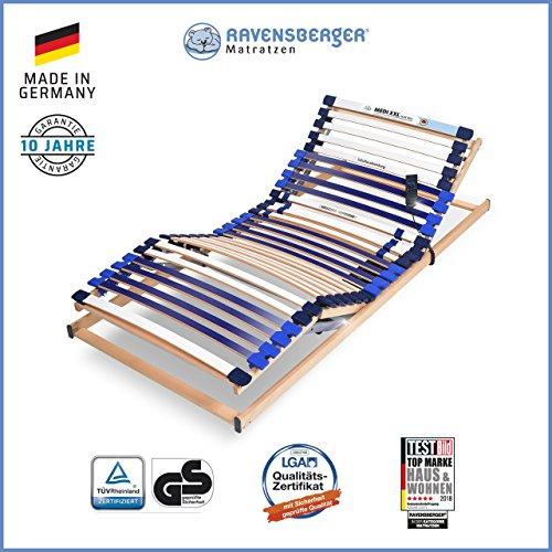 Ravensberger Matratzen® MEDI XXL® Lattenrost | 5-Zonen-Buche-Schwergewichts-Lattenrahmen | 30 Leisten | elektrisch | Made IN Germany - 10 Jahre GARANTIE | TÜV/GS 100x200 cm