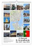 Garundi Lissabon 2018 (Wandkalender DIN A3 hoch, Weiß, 13 Monate mit Ortskarten) -