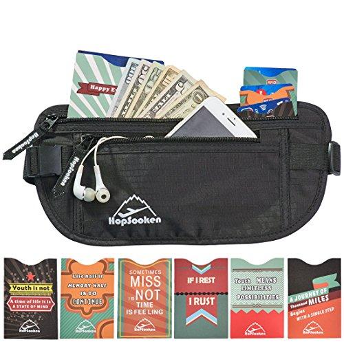 Hopsooken Portafogli a Marsupio da Viaggio + 6 x Porta Passaporto + 1 x Custodia Protettiva Porta Carte di Credito