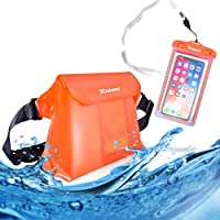 Yoassi 2 Pack Waterproof Pouch bag Case with Adjustable Waist Strap for Beach Swim, Boating Kayaking Hiking,Protect Your iPhone, Camera, Cash, MP3, Passport, Documents from Water,Orange
