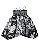 Lofbaz Kinder Mädchen Kinderhose Hose Haremshose und Overall Aladinhose Baby Sommer Jumpsuit - Elephant 17 Schwarz - 12-13Y