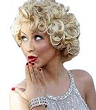Kurze Perücke in Ausschnitt Schnitt, ein Sehr Schön und Modernes Weiblich Aussehende, Wellige BOB (03 Blonde Mix)
