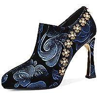 GLTER Tacones Altos del Dedo del Pie Puntiagudo de Las Mujeres Lentejuelas en Relieve Flores Zapatos de Fiesta 2019 Zapatos de Cuero de Primavera,Azul,38