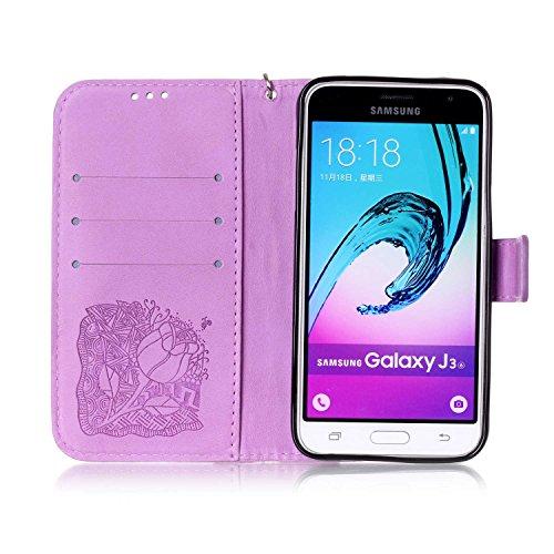 New Style gepresst Embossing Blumen Windchime Muster Retro Folio Flip Stehen Wallet Case mit Handschlaufe für Samsung Galaxy J310 ( Color : 14 , Size : Samsung Galaxy J310 ) 7