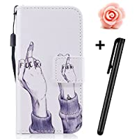 TOYYM Samsung Galaxy J5 2017 Case(American Version),Samsung Galaxy J5 2017 Case Leather Wallet with Unique Paiting Pattern Design,Bookstyle PU Leather Flip Cover Stand Function Protection Case with Card Slots Magnetic Closure Wrist Strap for Samsung Galaxy J5 2017 with Stylus Pen and Flower Dust Plu