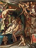 Posterlounge Holzbild 30 x 40 cm: Mars und Venus Werden von Vulcan überrascht von Joachim Wtewael